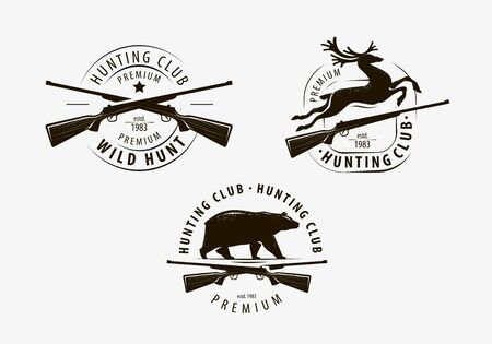 Set of hunting club labels on white