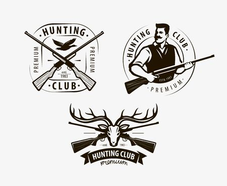 Hunting club set of labels on white