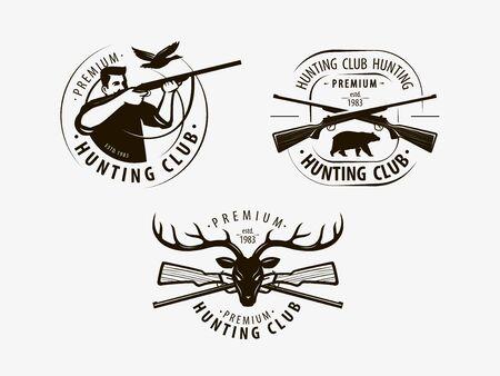 Hunting club set labels on white Çizim