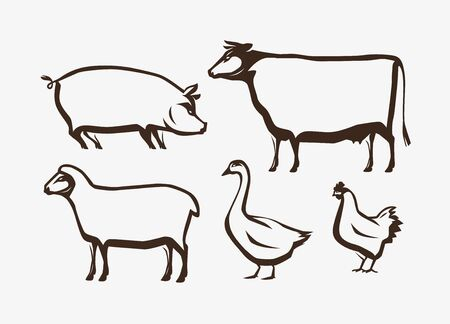 Farm animals set on white Illustration
