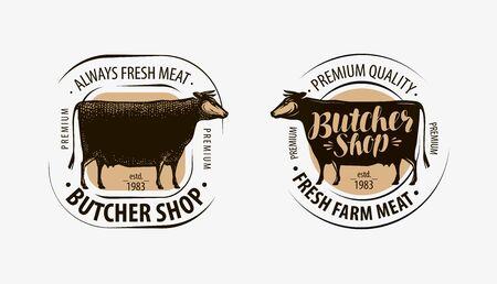 Butcher shop, butcher logo on white
