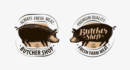 Butcher shop, butcher logo. Pig, pork label. Vector illustration Ilustracja