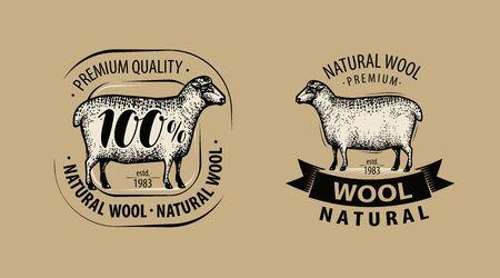 Natural wool, yarn logo or label Logó