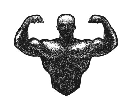 Gym, bodybuilding logo or label. Strong man with big muscles. Vector illustration Çizim