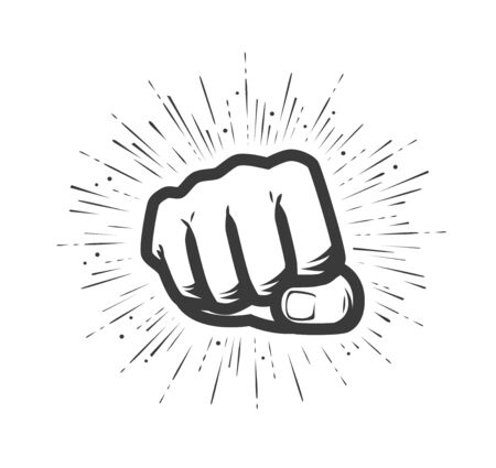 Clenched fist on white Ilustración de vector