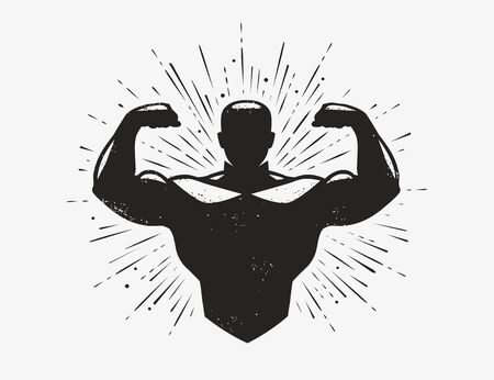 Gym, champion logo or label. Sport symbol. Vector illustration Çizim