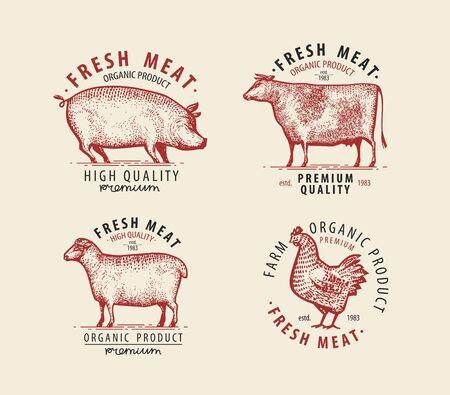 Meat set of labels. Butcher shop symbol. Vintage vector illustration