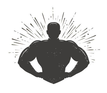 Gym, champion logo or label. Sport symbol. Vector illustration Illustration