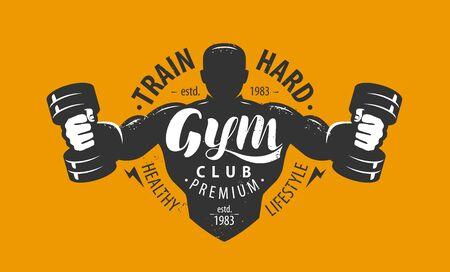 Gym club emblem on orange