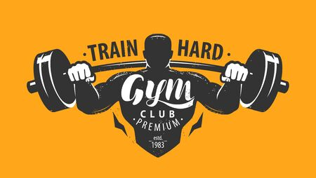 Gym club emblem. Bodybuilding, sport concept. Illustration