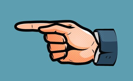Pointing male hand. Business concept in pop art retro comic style. Cartoon vector illustration