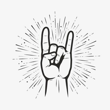 Rock on gesture symbol. Heavy metal hand gesture vector illustration