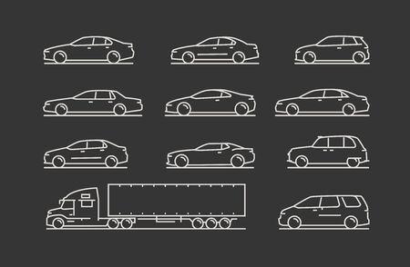 Transportation icon set. Car, truck symbol. Vector illustration Illustration
