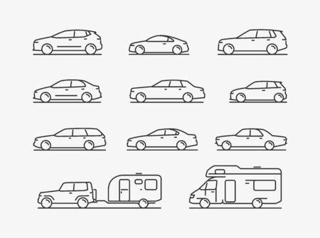 Icon set transportation. Car, transport symbol. Vector illustration