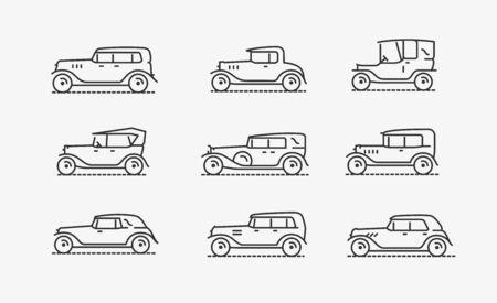 Retro cars icon set. Transport, transportation vector illustration