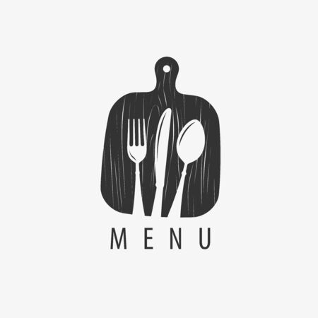 Menu logo. Cooking, restaurant symbol or label. Vector illustration