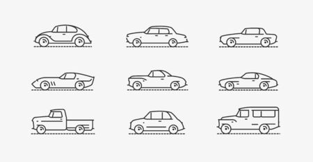 Car retro icon set. Transportation symbol in linear style. Vector illustration