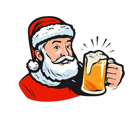 Santa claus with a beer. Christmas vector