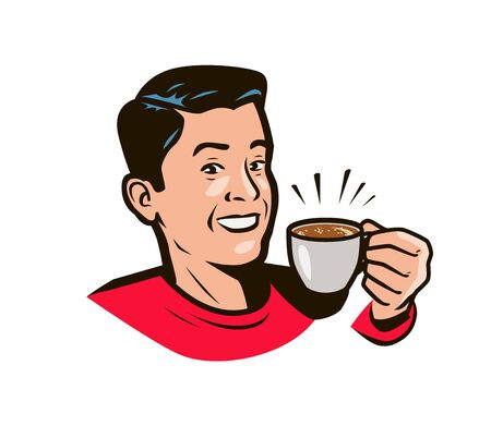Happy man with cup of coffee in hand. Drink pop art style.