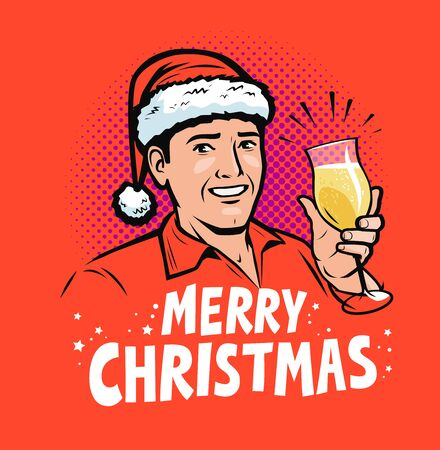 Man with beer for Happy New Year greeting card Illustration