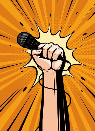 Microphone in hand drawn in pop art retro comic style. Cartoon vector