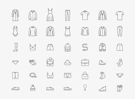 Kleding pictogrammenset in lineaire stijl op wit Vector Illustratie