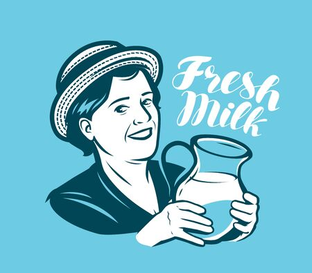Beautiful woman with a jug of fresh milk. Dairy farm, retro vector illustration