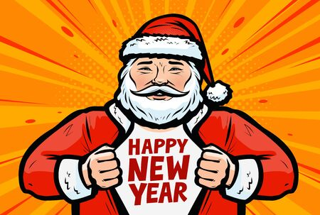 Happy New Year greeting card. Santa Claus in pop art retro comic style.