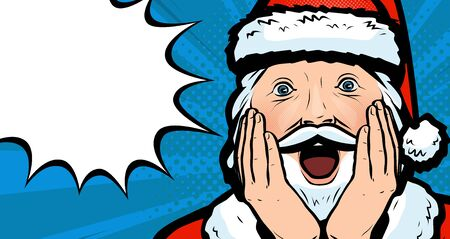 Delighted Santa Claus. Christmas vector in pop art retro comic style Vectores