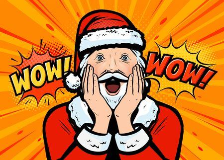 Le Père Noël surpris. Style comique rétro pop art. Vecteurs