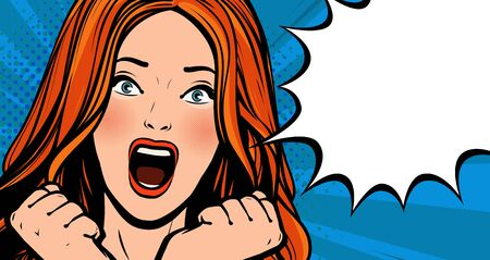 Beautiful girl screams with delight. Pop art retro comic style.