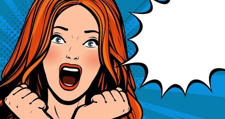 Beautiful girl screams with delight. Pop art retro comic style.