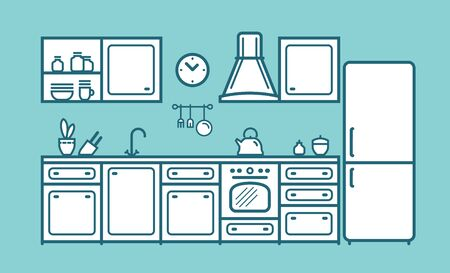 Kitchen set, furniture in linear flat style. Cartoon vector