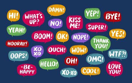 Set of comic speech bubbles. Conversation vector