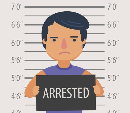Photo of man arrested with sign in police station. Funny cartoon vector illustration