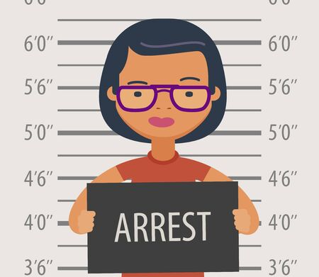 Detained or arrested with sign in police station. Illustration