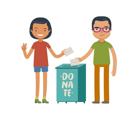 People make donations. Donate, charity concept