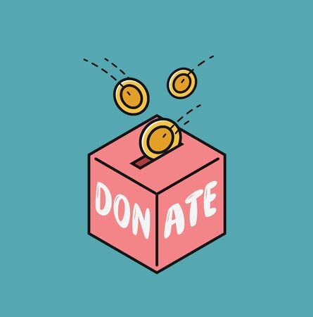 Donate, finance symbol. Fundraising in donation box vector illustration