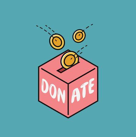 Donate, finance symbol. Fundraising in donation box vector illustration