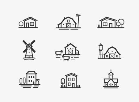 House icon set. Farm, agriculture building symbol. Vector illustration