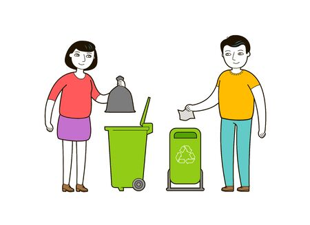 People throw trash in a garbage container.