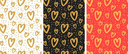 Seamless background with hand-drawn hearts. Pattern vector Vecteurs