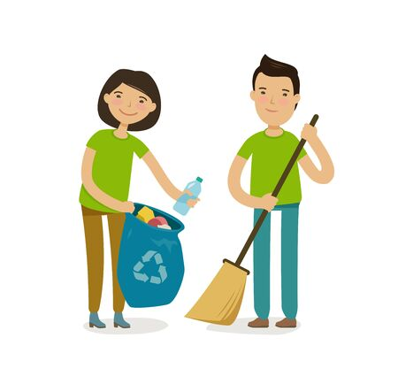 People or volunteers take out the trash. Protection of nature, environment vector Ilustração