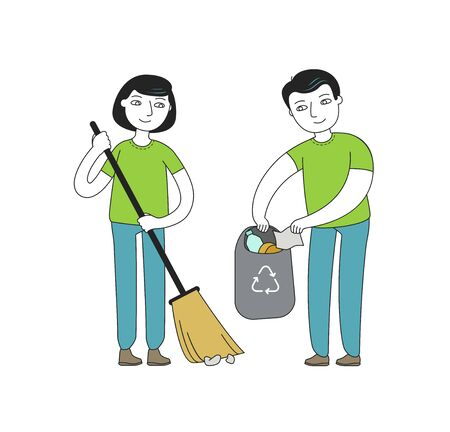 People or volunteers collect garbage. Protection of nature, environment vector