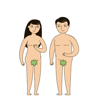 Adam and Eve. Biblical narrative of human origin. Vector illustration