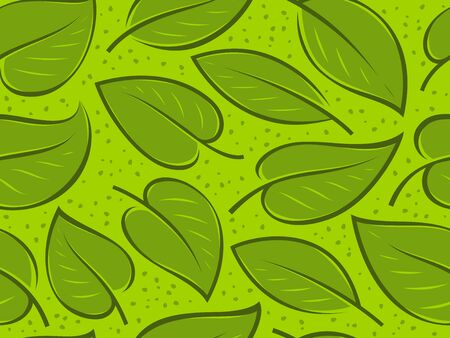 Seamless background with green leaves. Pattern vector 일러스트