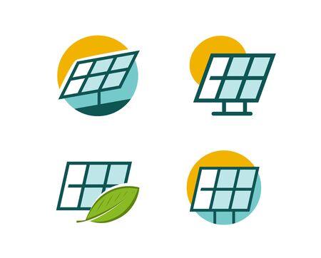 Solar energy panel symbol on white
