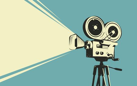 Movie camera retro. Cinema, projector vintage vector