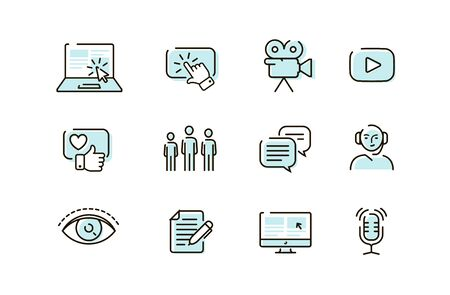 Web icons set. Collection vector outline symbol for mobile apps or site design Ilustrace