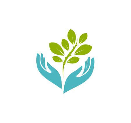 Hands holding plant logo. Environment, nature, agriculture symbol or icon
